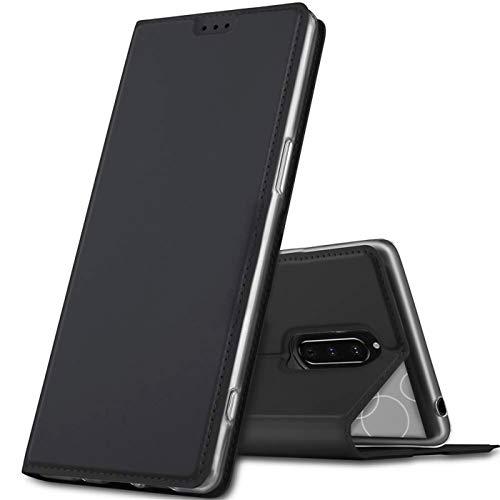 Verco Handyhülle für Xperia 1, Premium Handy Flip Cover für Sony Xperia 1 Hülle [integr. Magnet] Book Hülle PU Leder Tasche, Schwarz
