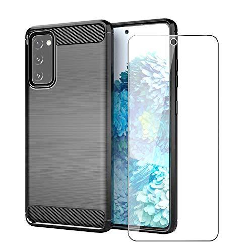 SDTEK Hülle Hülle Für Samsung Galaxy S20 FE (Fan Edition) Full Body Front Und Back 360 Protection Carbon Fiber Cover Mit Gehärtetem Glas Bildschirmschutz