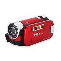 ビデオカメラ デジタルビデオカム フルHD 1080P 2.7インチ 16Xズーム 270°回転 手ぶれ補正 リチウム電池 屋外カメラ カムコーダー パーティー ピクニック キャンプなど用(レッド)