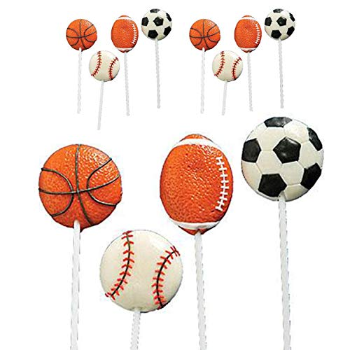 """Kicko 2"""" Sports Ball Lollipops - Pack of 12 Assorted Fruit-Flavored Candy Suckers for Party Favors, Cake Decorations, Novelty Supplies or Treats for Halloween, Christmas, Baby Showers"""