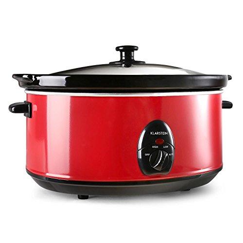 Klarstein Bristol 65 Mijoteuse electrique (6,5 L, 300W, 2 températures, céramique lavable, méthode Schongar, alimentation électrique) - rouge