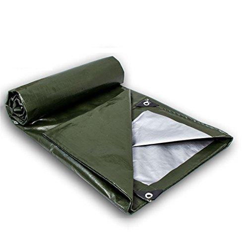 Zzye Lona Tarpa de servicio pesado, poli impermeable cubierta grande para remolque al aire libre, leña, taza de toldo de lona, barco, rv o cubierta de piscina, verde ejército + plata, grosor 0,3 mm,