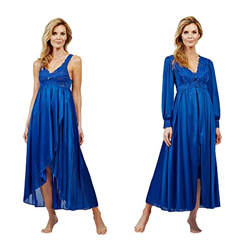 Shadowline Silhouette Long Lace Nightgown and Robe Set, Navy, Large (55737)