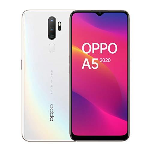 OPPO A5 Smartphone , Display 6.5'' LCD, 4, Fotocamere,64GB Espandibili, RAM 3GB, Batteria 5000mAh, Dual Sim, 2019 [Versione italiana], Dazzling white