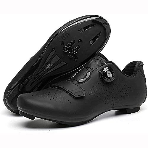 Zapatos De Ciclismo para Hombre Zapato De Bicicleta De Carretera con Zapatos SPD Pelotón con Hebilla Delta Compatible para Carreras De Montar En Interiores VIIPOO,Black-47EU