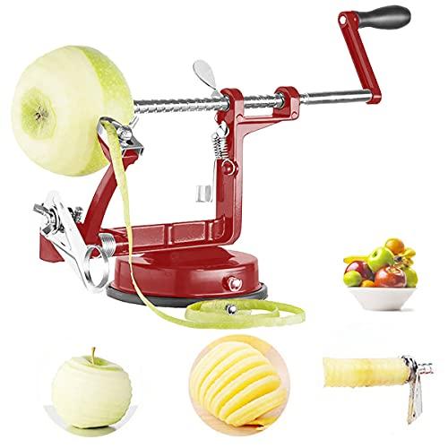 Geyou Pelador de manzana, cortador de manzana y descorazonador con pelador de frutas de acero inoxidable, peladores de manzana, potente base de succión con 2 cuchillas extra y 10...