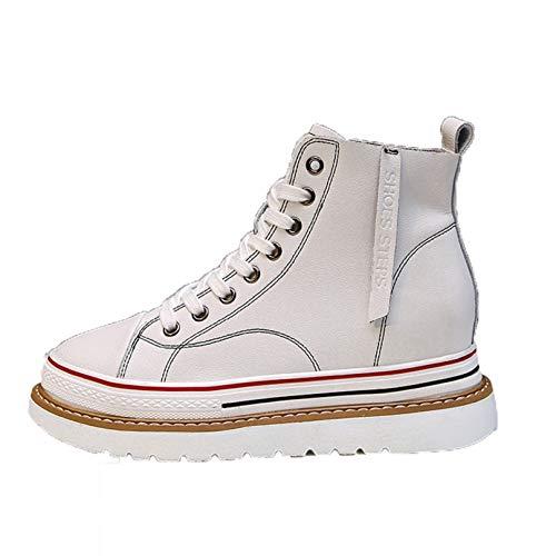 Zapatos Casuales de Plataforma para Mujer Zapatillas de Deporte de caña Alta con Cordones Antideslizantes Impermeables Zapatillas Deportivas con cuña de tacón Oculto para Caminar para Mujer