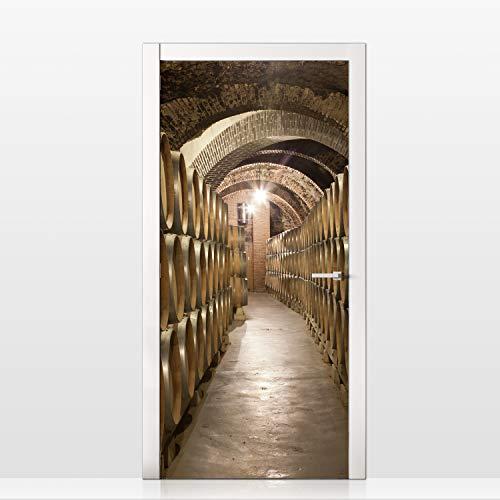 MEGADECOR Vinilo Adhesivo Decorativo para Puertas Diseño Entrada a una Bodega con Barriles