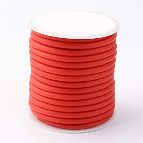 QQINGHAN Aproximadamente 10.94 yardas (10 m)/rollo de 5 mm de hilo de goma de silicona envuelto alrededor de carrete de plástico para bricolaje collar pulsera joyería (color rojo)