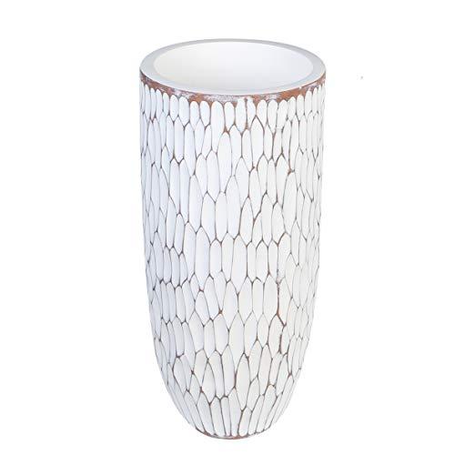 Casablanca Diseño Jardinera Vancouver Poly/Fibra de Vidrio Blanco/marrón–tibamé Natural...