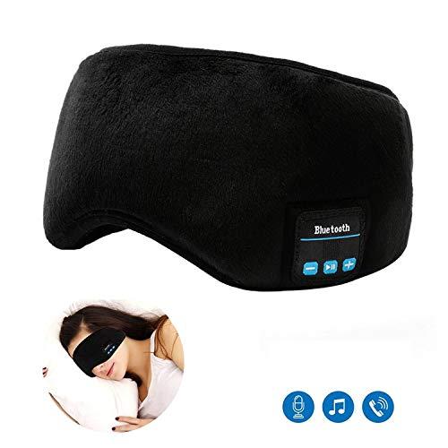 Schlafmaske Kopfhörer Bluetooth - Musik Schlaf Augen Abdeckung,Ultrathin Lautsprecher, Super Komfortable,Stereo Augen Maske Headset Waschbar für Reise und Schlafen(Schwarz)