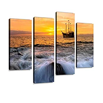 HIPOLOTUS 4 Panel Canvas Pictures Ocean Sunset Pirate Ship Fantasy Pirate Ships and Pictures Wall Art Prints Paintings Stretched & Framed Poster Home Living Room Decoration Ready to Hang