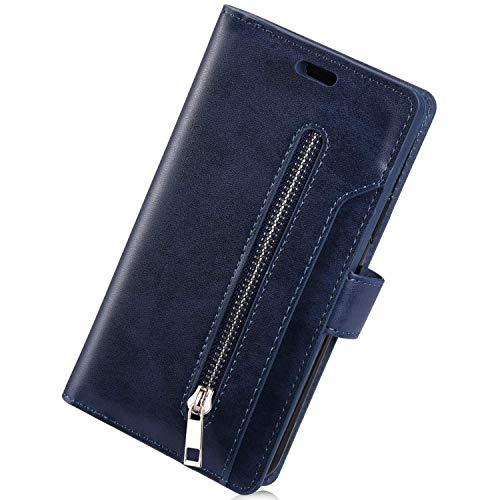 Herbests Kompatibel mit Samsung Galaxy Note 10 Lite HandyHülle Handytasche Männer Multifunktionale Reißverschluss Brieftasche Hülle Leder Schutzhülle [9 Kartenfach] Handschlaufe Ständer,Dunkelblau