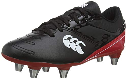 Canterbury Phoenix Raze Junior Soft Ground Rugby Shoe, CCC Black True Red, 3 UK