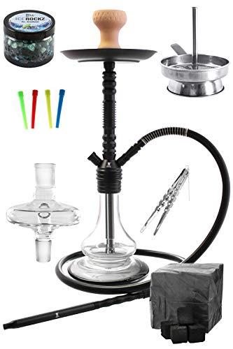 Eco 590 Juego de narguile forcer con melaza de pasta de vapor de carbón colector boquillas desechables chimenea y pinzas de carbón (Negro)