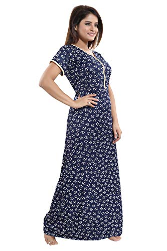 YKI Women's Synthetic Maxi Night Gown (LZ-02_Blue)