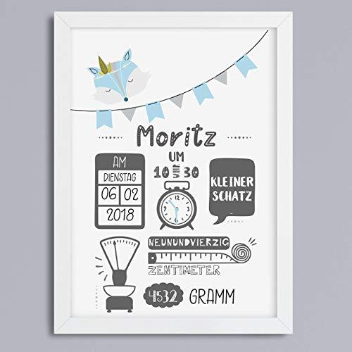 Kunstdruck personalisiertes Geschenk zur Geburt Geburtsanzeige Junge Geschenkidee Babygeschenk Fuchs optional mit Rahmen