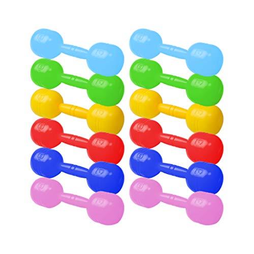 LIOOBO 12 Piezas de Mancuernas de Plástico Mancuernas de Color con Sonido Niños Ejercicio Fitness Deporte Juguetes Herramienta de Ejercicio de Jardín de Infantes Color Aleatorio