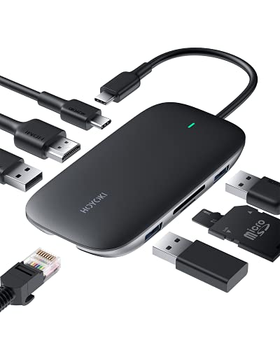 HOYOKI USB C Hub HDMI 4K , 8 in 1 Type C Adapter with Ethernet, 100W PD Charger, 2 USB 3.0 Ports, SD Micro SD Card Reader USB 3.0 for MacBook Pro Air, Chromebook Pixel HP XPS and More Type C Devices