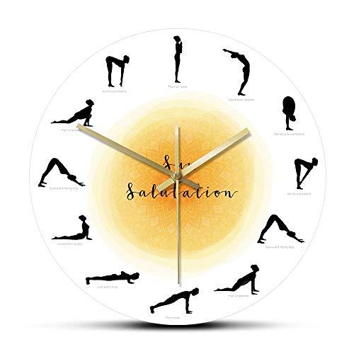 Secuencia Yoga Pose Silueta Reloj de Pared Redondo Sin tictac Saludo al Sol Reloj de Pared Estudio de Yoga Decoración Regalo para yoguis-Frameless_Simple_Design