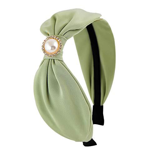 Accessoires pour cheveux Bowknot fausses boucles d'oreilles perle cheveux cerceau gland ruban bandeau femelle sauvage commencer par paquet de tissu pression cheveux trou-vert