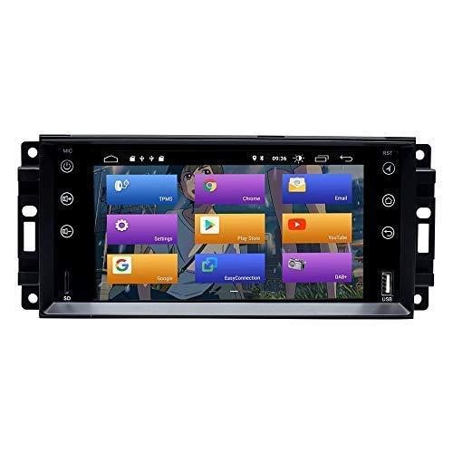 FDGBCF para Jeep Wrangler JK Dodge Ram Challenger Dodge Journey Chrysler 300C 7 Pulgadas Android 10.0 Car Radio Estéreo Sistema GPS Car Reproductor Multimedia Car Auto Play/TPMS/OBD / 4G WiFi/Dab
