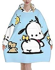 男女兼用 着る毛布 ブランケット ルームウェア 防寒 青少年 長袖 帽子掛け パーカー トレーナー 保温する 着るブランケット 袖付き毛布 ポチャッコ (3) 冬の寒さ お昼寝ブランケット