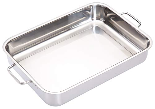 [DEFAULT] Master Class Deluxe Stainless Steel H/duty Deep Roasting Pan 37cm x 27cm