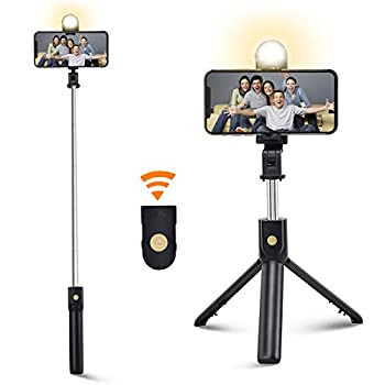Selfie Stick Tripod with Bluetooth&Fill Light Extendable Selfie Stick and Wireless Remote Lightweight Portable Compatible with iPhone and Android Smartphone