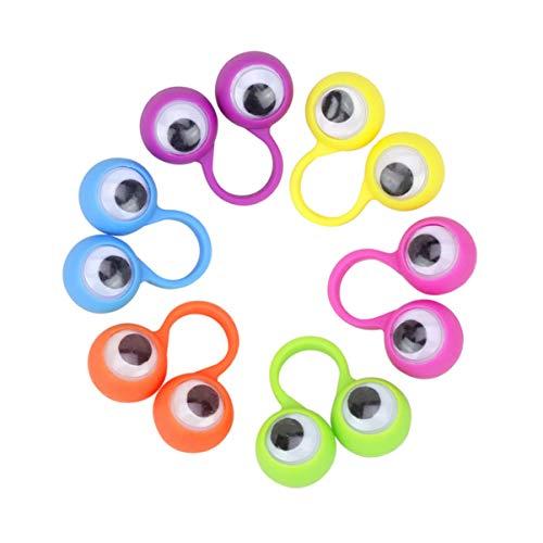 Healifty Marionetas de Dedo de Ojos Saltones Anillos de Títere de Globo Ocular Ondulado Juguete de Dedo para Niños Favor de Fiesta 20 Piezas (Color Aleatorio)