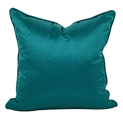 Cushion Covers Throw Pillow Cover Simple Modern Solid Color Satin Sofa Bedroom Living Room Decoration Square Pillowcase 50cm x 50cm(20x20 Inch) (Without Core) Emerald