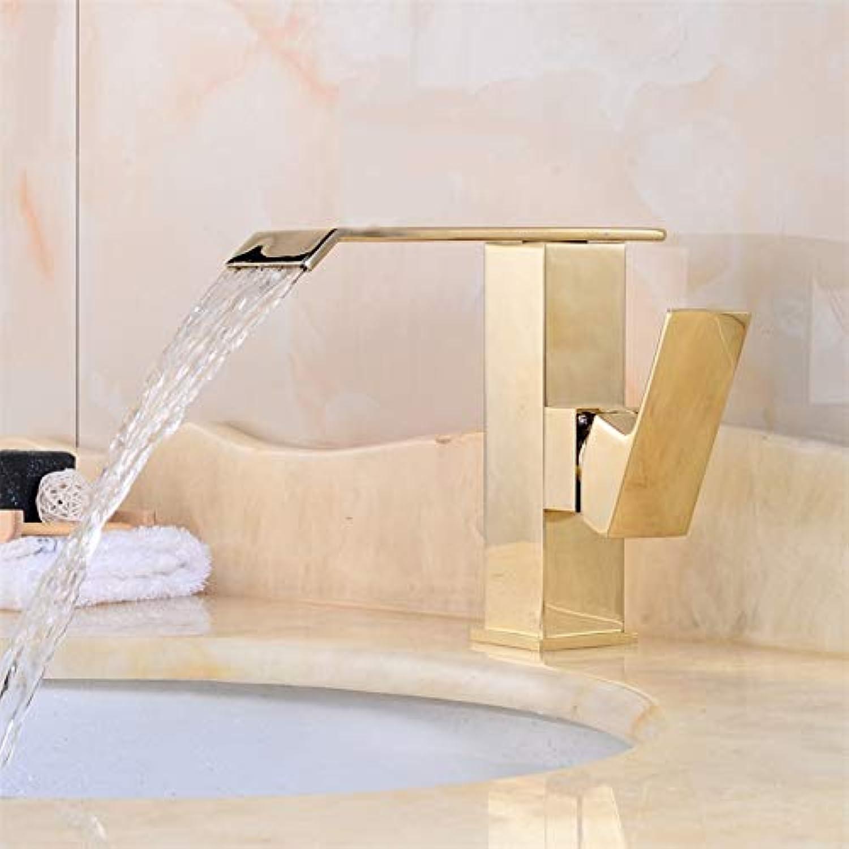 YHSGY Waschtischarmaturen Wasserfall-Badezimmer-Goldener Hahn-Einziger Handgriff-Eitelkeit Sink-Mischbatterie-Plattform-Berg