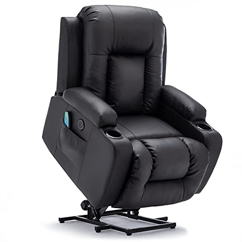 Vicluke Oversized Power Lift Recliner Chair with Massage and Heat for Elderly, Leather Electric Recliner Lift Chair with 2 Side Pockets, Cup Holders and USB Port for Living Room, Large (Black)