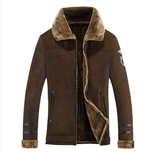 BJHIOJ Manteau Sherpa en Laine pour Homme Veste Col Polo en Fausse Fourrure d'agneau Parka en Daim en Automne-Hiver,Marron,XL