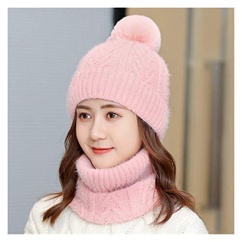 Fylsdes Winter hat Women's Hats Bib Sets Women Knit Caps Female Outdoor Cycling Windproof Beanie Skullies Hats Suit Hats & Headwear (Color : Pink, Size : One Size)