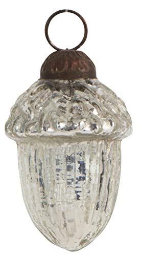 IB Laursen - Christbaumschmuck, Baumschmuck, Weihnachtskugel - Ahorn, Eichel - Silber - Glas - Ø: 3,5 cm