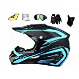 ASDGY Jugend Kinder Offroad Helm (mit Brille, Handschuhen, Maske,Helmnetz, Handtuch), MTB Helm Fullface Fahrrad Helm Cross Helm (S(55-56cm))