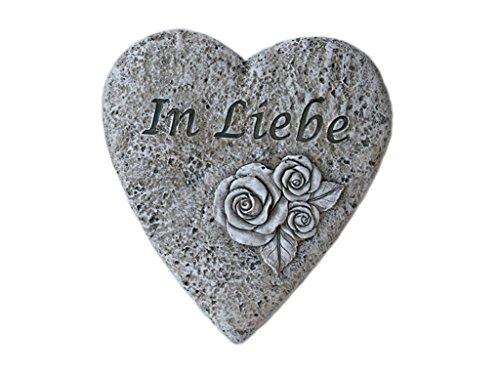 "Bambelaa! Grabschmuck Grabdeko Herz Inschrift ""In Liebe"" Steinharz Friedhof"