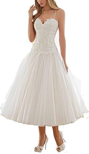 YASIOU Hochzeitskleid Kurz Weiß Standesamt Damen A Linie Tüll Spitze Herzausschnitt Elfenbein Prinzessin Weiss Brautkleid
