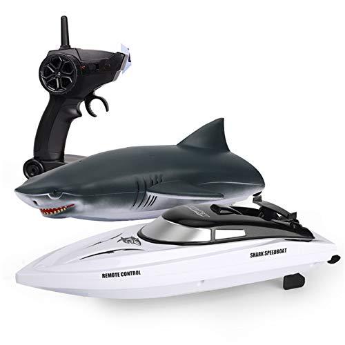 AFYH Barca Telecomando, Imbarcazioni telecomandate 2.4G Telecomando Barca squalo 2 in 1 motoscafo ad Alta velocità Simulazione squalo 15 km/h 2.4g Telecomando 40-50 m Giocattolo Acquatico