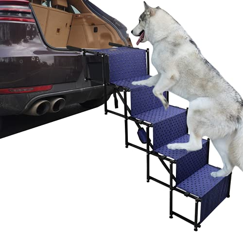 YEP HHO Rampa plegable de 5 pasos, escalones para perros medianos y grandes, ligera y portátil con superficie impermeable, ideal para coches, camiones, SUV, color azul