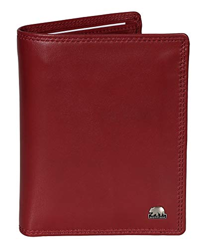 Brown Bear Herren Damen Business Geldbörse Leder Rot hochwertig RFID Schutz Blocker Doppelnaht Reißverschluss-Fach Echtleder Portemonnaie Männer Geldbeutel Frauen Portmonaise Portmonee