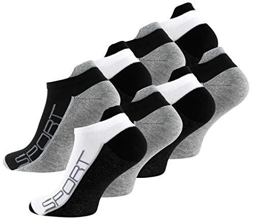 VCA Lot de 8 paires de socquettes - coton et élasthanne - talon ajusté et inscription Sport - pointe remaillée main - bicolore (43/46, noir, blanc, gris)