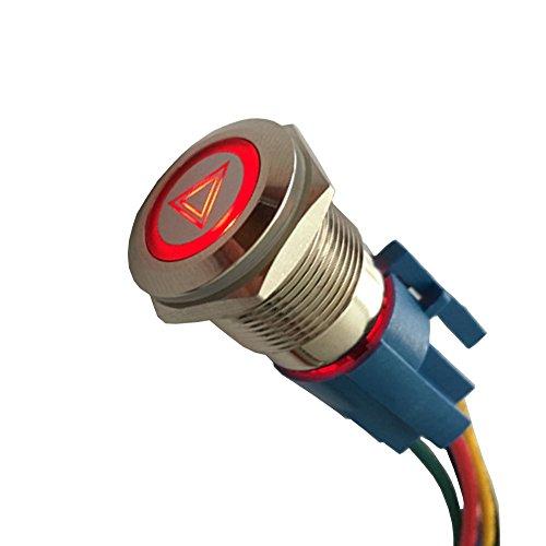 Mintice 19mm rouge LED 12V bouton poussoir voiture métal interrupteur Urgence danger Attention prise de courant