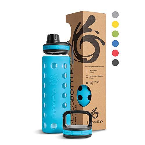 hydro2go® Trinkflasche aus Glas mit Silikonhülle 550 ml - spülmaschinenfest   2 auswechselbare Deckel   100% Auslaufsicher BPA-frei - Glasflasche für Kinder, Büro, Fitness, Yoga, Sport & Outdoor