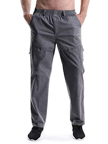 OCHENTA Men's Elastic Waist Relaxed Straight Leg Baggy Pull On Cargo Pants Dark Grey Tag 2XL - US 36