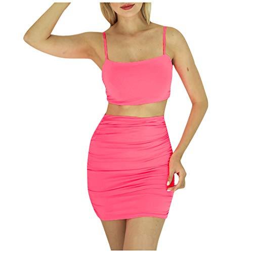 Fenverk_Kleid Damen Glitzer Minikleider Elegant Rückenfreies Bodycon Kleid Spaghetti Strap Stretchy Partykleider Set,Frauen Uniform Club Wear,Festlich Einfarbig Rückenfrei Party(B Pink,L)