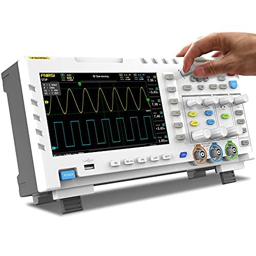 Osciloscopio digital, FNIRSI 1014D 2 en 1, multímetro, osciloscopio portátil profesional, kit de osciloscopio con 2 canales, pantalla de 7 pulgadas, 100 MHz, 1GSa/s