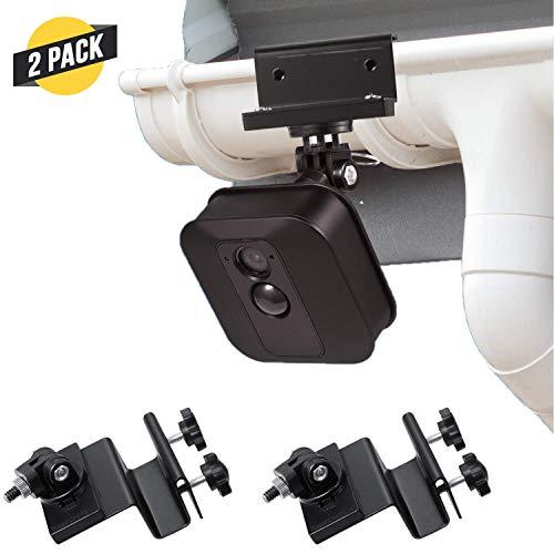 Wasserstein wetterfeste Regenrinnenhalterung kompatibel mit Blink XT2 Outdoor Kamera mit Universal Schraubenadapter - Bessere Platzierung für besseren Schutz (2er Pack, schwarz)