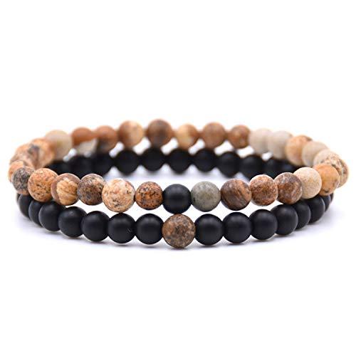 Pulsera Brazalete, Joyeria Regalo, HONEYYIYI 2Pcs/Set Natural Stone Mixing Beads Bracelet Men Bracelets & Bangles Jewelry Men Gifts Pulseras 13